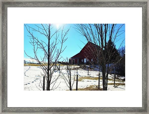 Winter Farm House Framed Print