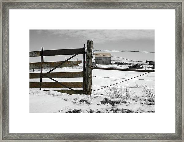 Framed Print featuring the photograph Winter Fence Farm by Dylan Punke