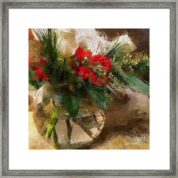 Winter Flowers In Glass Vase Framed Print