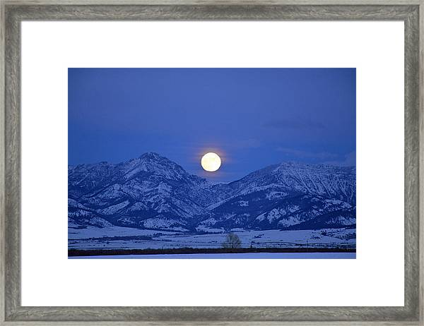 Winter Full Moon Over The Rockies Framed Print