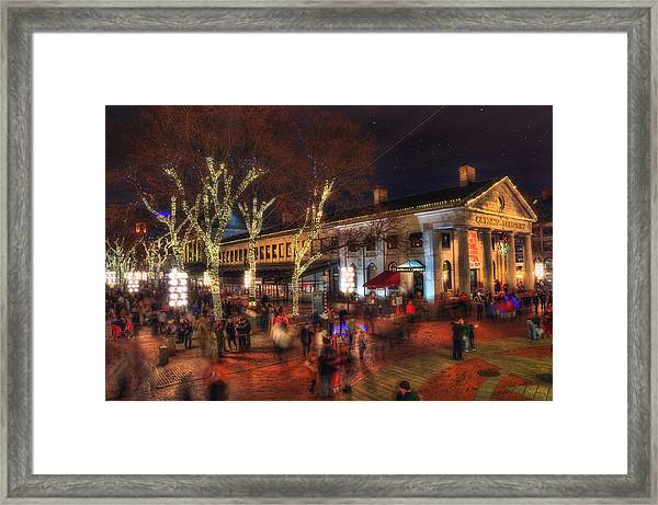 Winter In Boston - Quincy Market Framed Print