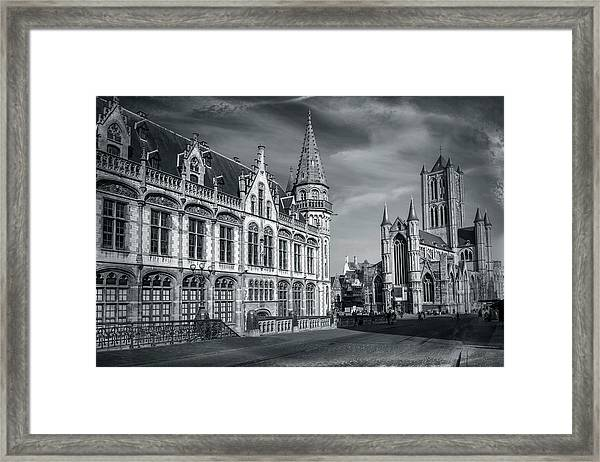 Winter In Ghent Belgium Black And White  Framed Print
