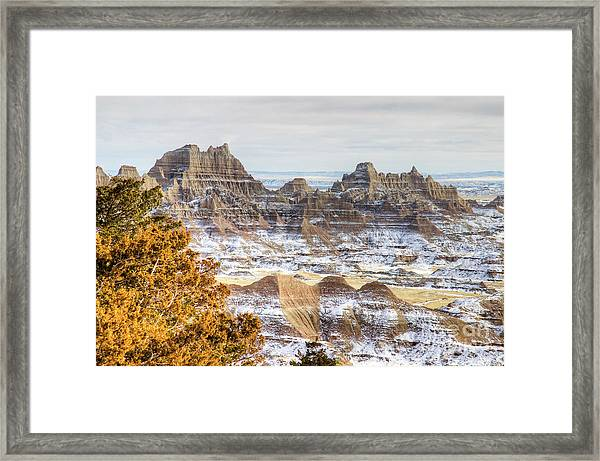 Framed Print featuring the photograph Winter In The Badlands by Bill Gabbert