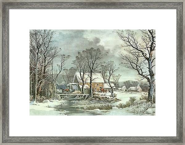 Winter In The Country - The Old Grist Mill Framed Print