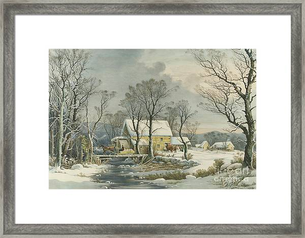 Winter In The Country, The Old Grist Mill, 1864  Framed Print