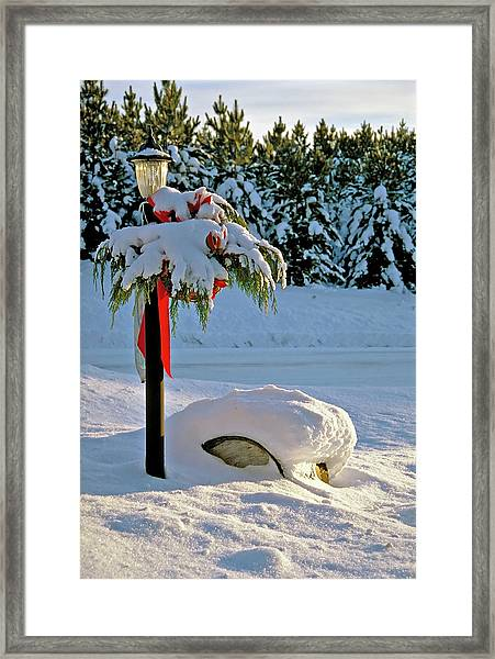 Winter Lamp Post In The Snow With Christmas Bough Framed Print
