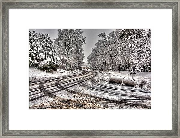 Tracks In The Snow Framed Print