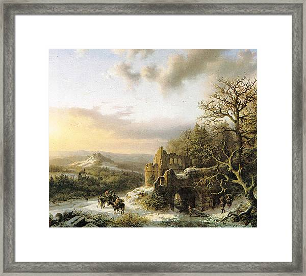 Winter Landscape With Peasants Gathering Wood Framed Print