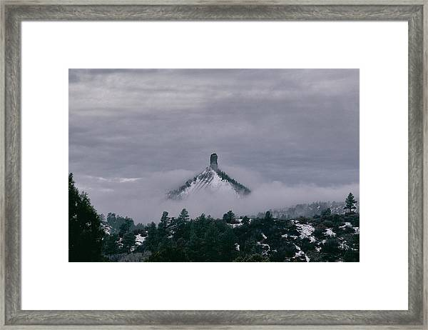 Winter Morning Fog Envelops Chimney Rock Framed Print
