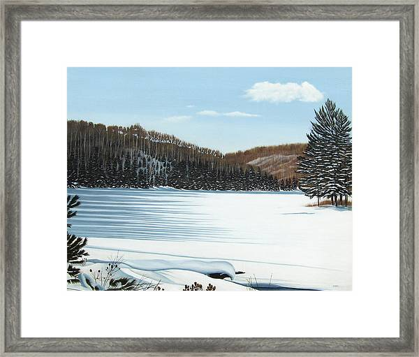 Winter On An Ontario Lake  Framed Print