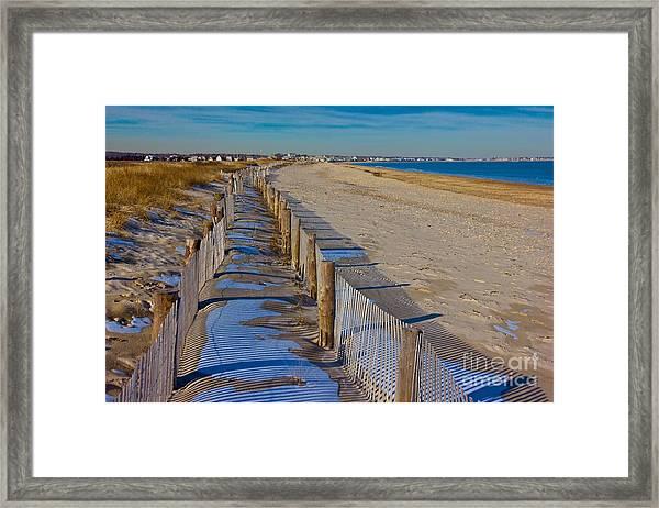 Winter On Duxbury Beach Framed Print