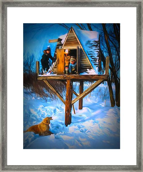 Winter Scene Three Kids And Dog Playing In A Treehouse Framed Print