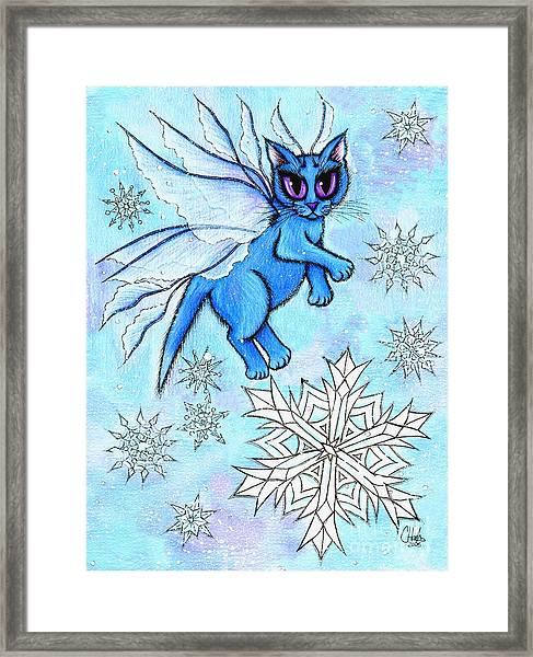 Winter Snowflake Fairy Cat Framed Print