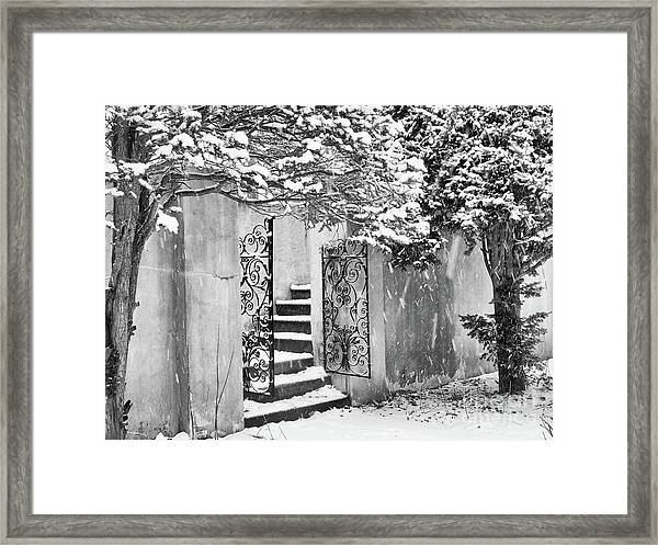 Winter Steps At The Vanderbilt In Centerport, Ny Framed Print