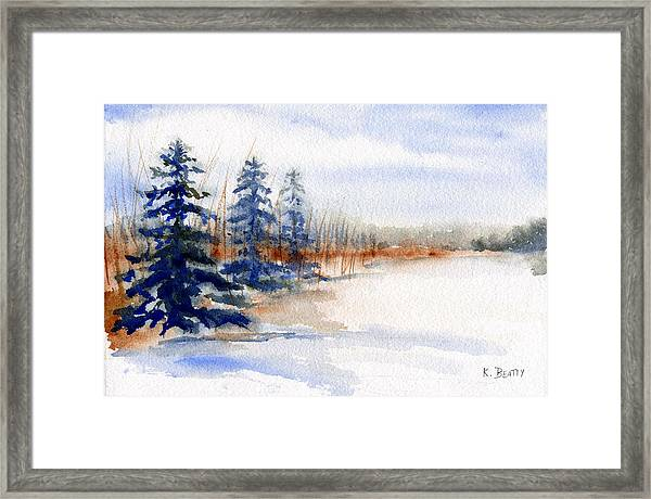 Winter Storm Watercolor Landscape Framed Print