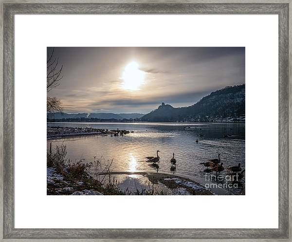 Framed Print featuring the photograph Winter Sugarloaf With Geese II by Kari Yearous