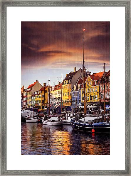 Winter Sun Over Nyhavn Copenhagen  Framed Print