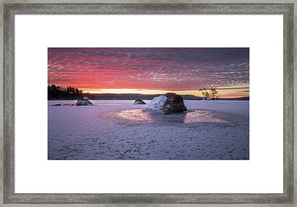 Winter Sunrise Over Moose Pond Framed Print