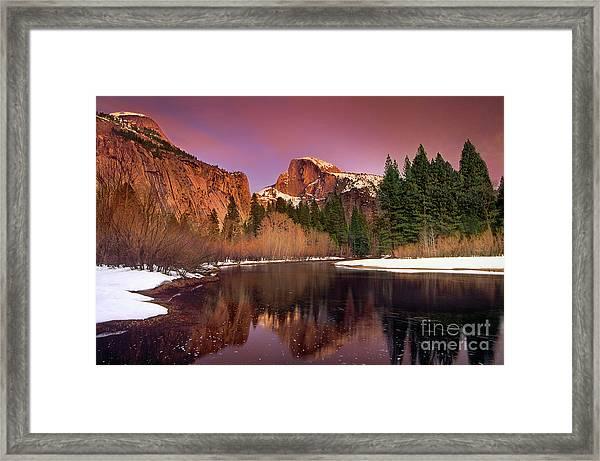 Winter Sunset Lights Up Half Dome Yosemite National Park Framed Print