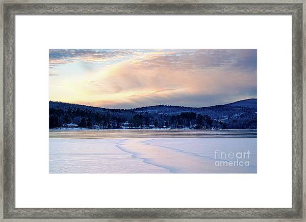 Winter Sunset On Wilson Lake In Wilton Me  -78091-78092 Framed Print