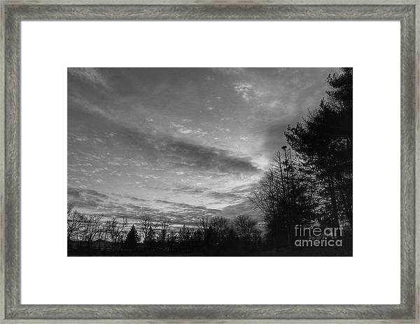 Winter Sunset On Woodland Lake Framed Print