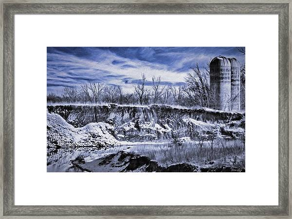 Winter Twin Silos Framed Print
