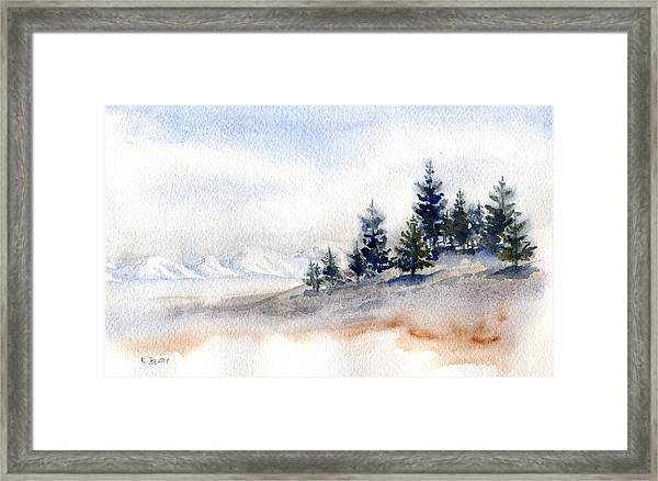 Winter Watercolor Painting Framed Print