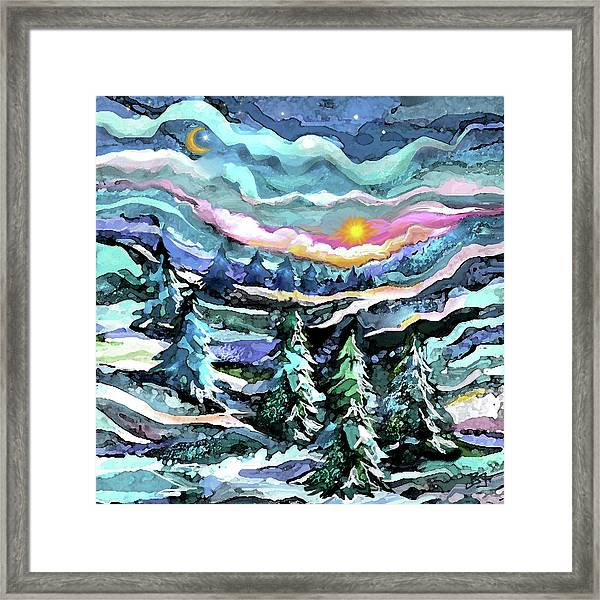 Winter Woods At Dusk Framed Print