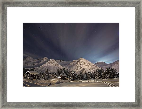 Winterevening In The Mountains Framed Print