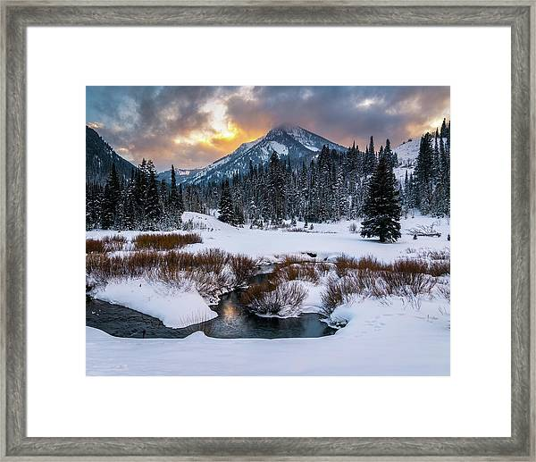 Wintery Wasatch Sunset Framed Print