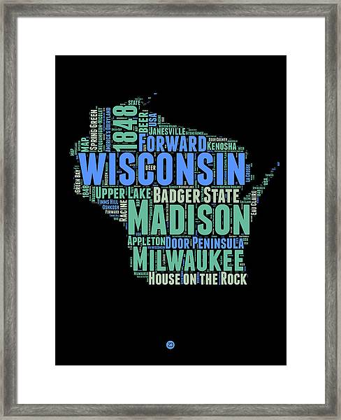 Wisconsin Word Cloud Map 1 Framed Print