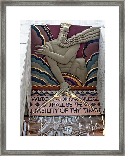 Framed Print featuring the photograph Wisdom Lords Over Rockefeller Center by Lorraine Devon Wilke