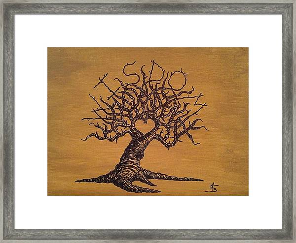 Framed Print featuring the drawing Wisdom Love Tree by Aaron Bombalicki
