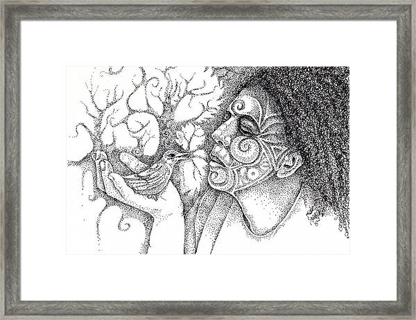 Wise Words-a Bird In The Hand Drawing Framed Print