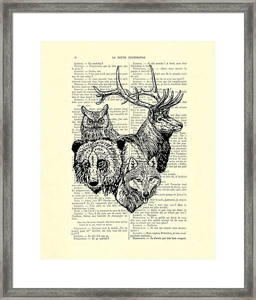 Wolf, Bear, Deer, Owl Wildlife Animals Black And White Framed Print