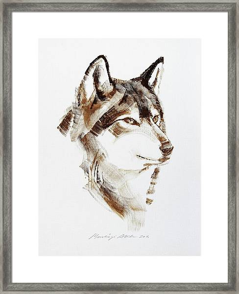 Wolf Head Brush Drawing Framed Print