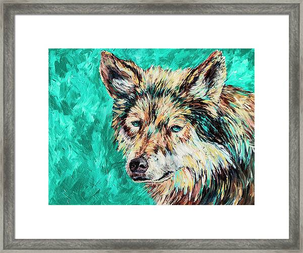 Wolf In Turquoise Framed Print