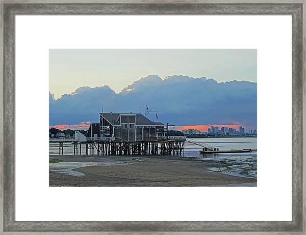 Wollaston Beach Quincy Ma Sunset Boston Skyline Quincy Ma Framed Print