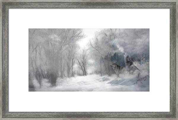 Wolves In The Mist Framed Print