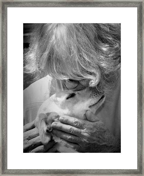Woman And Dog Framed Print