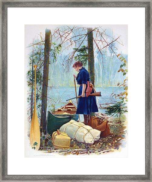 Woman Camper Cropped Framed Print