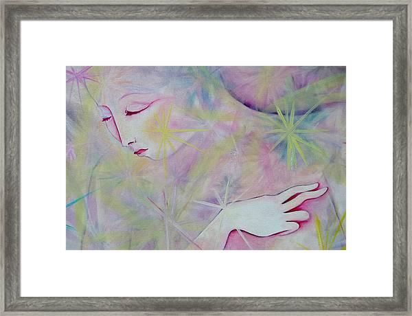 Woman Face Detail Framed Print