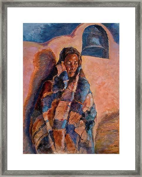Woman In A Serape Framed Print