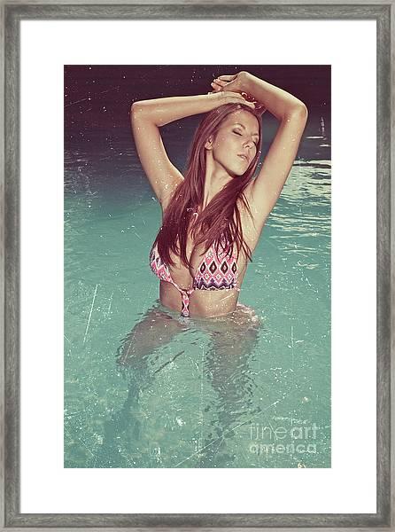 Woman In Bikini In The Water And Retro Look Image Finish Framed Print