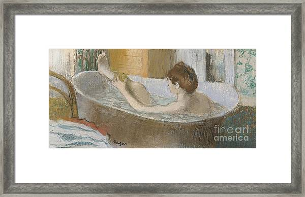 Woman In Her Bath Framed Print