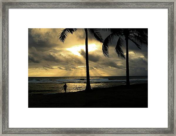 Woman In The Sunset  Framed Print