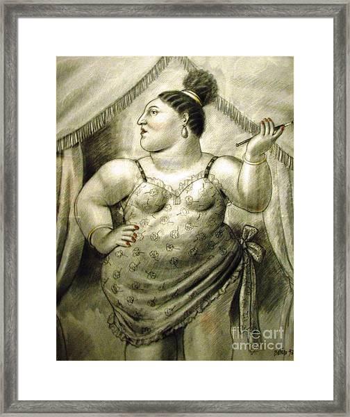 woman performer Botero Framed Print