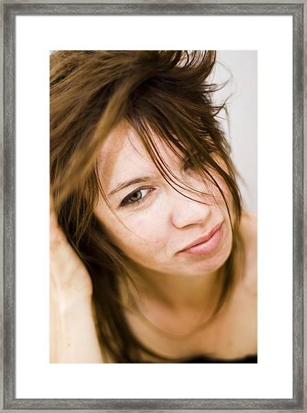 Woman Shaking Her Hair Framed Print by Gabor Pozsgai