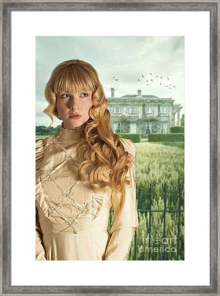 Woman Standing Outside Manor House Framed Print