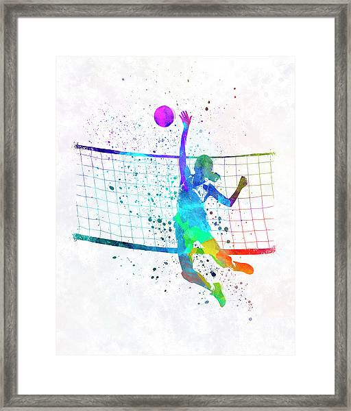 Woman Volleyball Player In Watercolor Framed Print